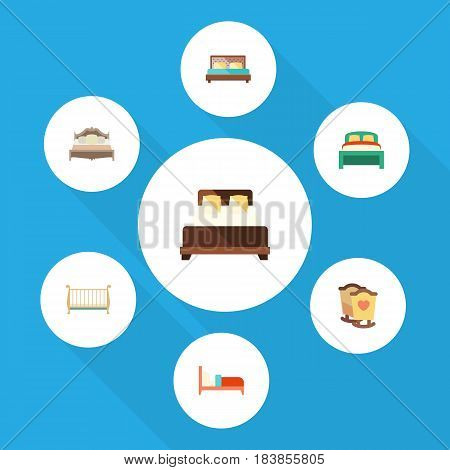 Flat Bedroom Set Of Bedroom, Cot, Furniture And Other Vector Objects. Also Includes Mattress, Furniture, Double Elements.