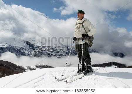France Alps - December 4 2011. Legionnaire-sapper of the 2nd foreign engineering regiment of the French foreign legion on skis stands on the Alps during the mountain training.