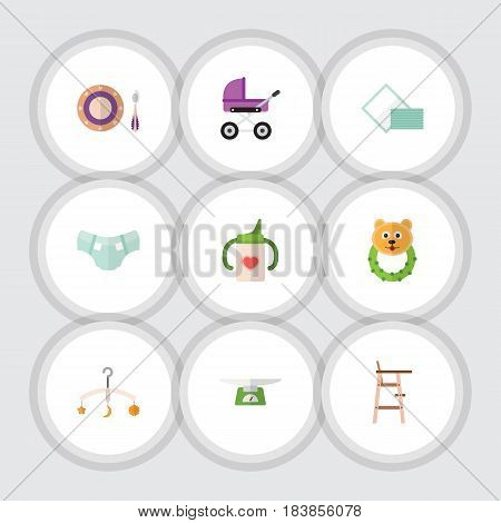 Flat Kid Set Of Child Chair, Mobile, Rattle And Other Vector Objects. Also Includes Children, Nappy, Rattle Elements.