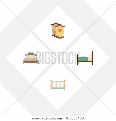 Flat Bed Set Of Bedroom, Cot, Bed And Other Vector Objects. Also Includes Cot, Mattress, Bedroom Elements.