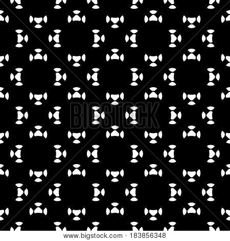 Vector seamless pattern, black & white smooth circular geometric figures. Simple dark minimalist abstract background, endless monochrome backdrop, repeat tiles. Design for prints, decor, furniture