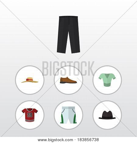 Flat Clothes Set Of T-Shirt, Male Footware, Pants And Other Vector Objects. Also Includes Cloth, Shoe, Woman Elements.