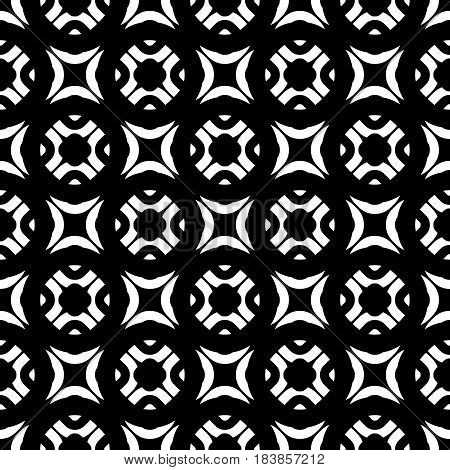 Vector monochrome texture, black & white geometric seamless pattern. Square illustration with simple rounded figures. Abstract dark endless background. Design element for tileable print, decor, cloth