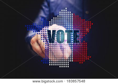 Elections In France With Man Pointing Vote Text.