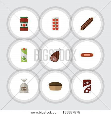 Flat Cooking Set Of Ketchup, Tart, Smoked Sausage And Other Vector Objects. Also Includes Love, Drink, Bag Elements.