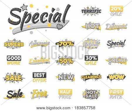 XXL collection of artistic sale, discount, encouragement and achievement advertising badge stickers. Design elements to advertise special offer, hot sales and clearance proposals.