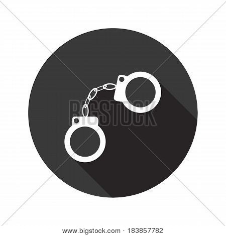 Handcuffs vector flat icon with shadow. Round button