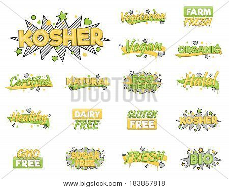 XXL collection of artistic food and drink quality badge stickers. Design elements that inform consumers about halal, kosher, vegan, gluten free and other inspected products.