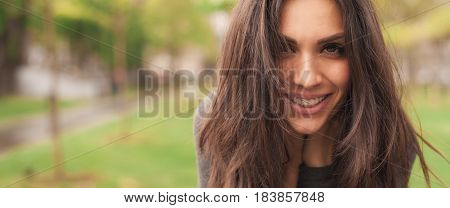 Happy Cheerful Smiling Woman Enjoys In The Nature. Panorama Widescreen