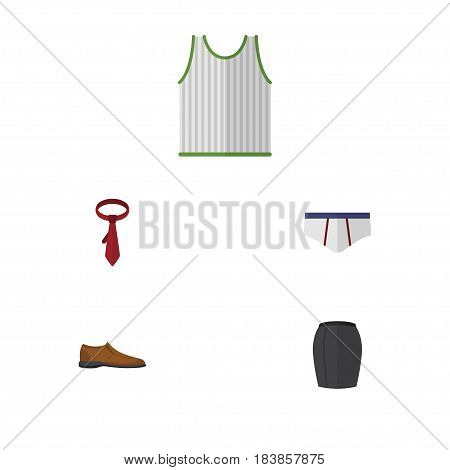 Flat Garment Set Of Male Footware, Underclothes, Stylish Apparel And Other Vector Objects. Also Includes Tank, Necktie, Footware Elements.