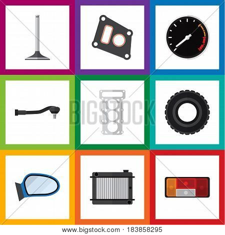 Flat Component Set Of Auto Component, Gasket, Car Segment And Other Vector Objects. Also Includes Thermostat, Spherical, Wheel Elements.