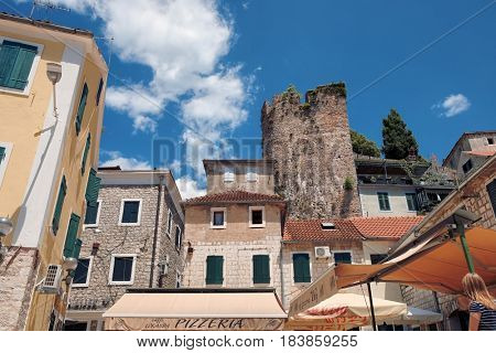 HERCEG NOVI, MONTENEGRO - JULY 18, 2016: medieval citadel and the ruins of the ramparts in Old Town