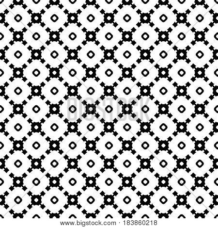 Vector monochrome seamless texture, abstract geometric black & white pattern with simple rounded shapes. Endless background, repeat tiles, diagonal lattice. Design element for textile, print, fabric