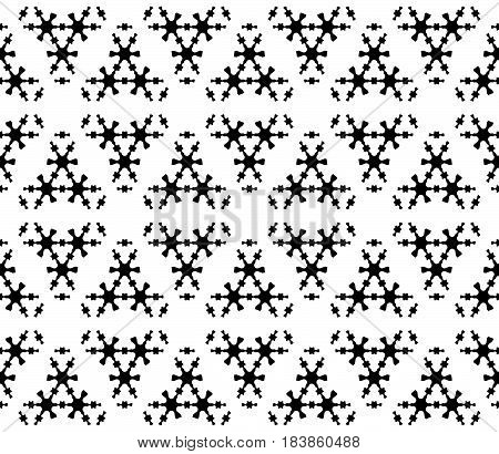 Vector monochrome seamless pattern, subtle geometric texture with thin figures, snowflakes, molecules. Abstract black & white background. Elegant stylish design element for decor, tileable print, web