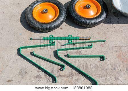 Small Wheels From A Garden Wheelbarrow.
