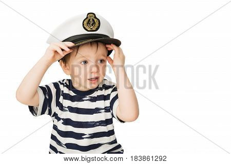 Little sailor Captain Hat keeps lifebuoy isolated