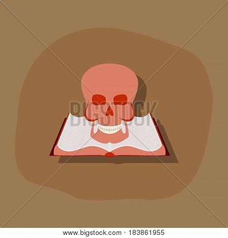 paper sticker on stylish background of book skull