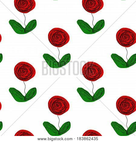 Seamless floral repetitive pattern hand drawn abstract roses green leaves white background textile quilt silk unique design scrapbooking