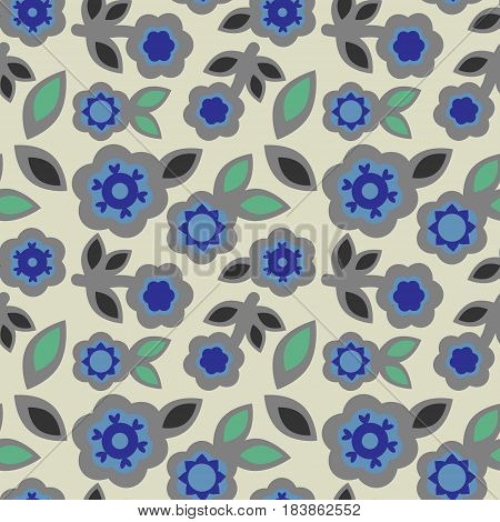 Seamless floral pattern abstract grey blue flowers geometric elements leaves japanese style fabric silk tapestry