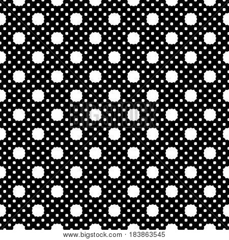 Vector seamless pattern, simple geometric texture, white figures on black backdrop, polka dot illustration with rounded octagons. Abstract repeat background. Design for decor, print, decoration, web