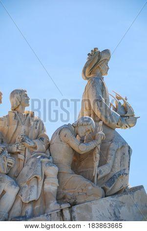 Vasco da Gama monument closeup view with sculptures of the explorers, Lisbon