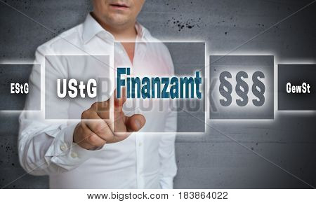 Finanzamt (in German Tax Authority)) Concept Background Is Shown By Man