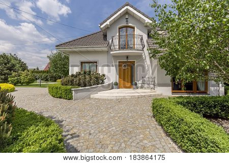 White Detached House With Garden