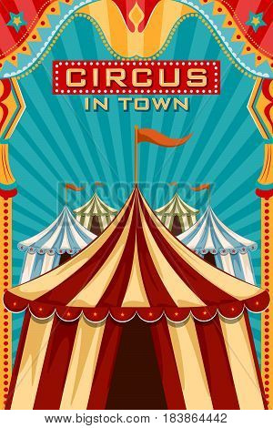 easy to edit vector illustration of Vintage retro Circus Party banner poster design