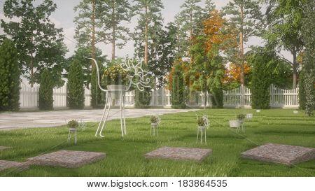 3d illustration of a garden cat with flower pot sculpture