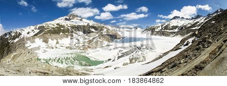 Switzerland: Canton Valais. Rhone glacier melting due to the melting of glaciers.