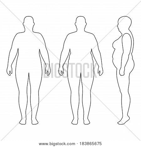 Full length front back side view of a fat standing naked woman outlined silhouette isolated on white background. Vector illustration. You can use this image for fashion design and etc.