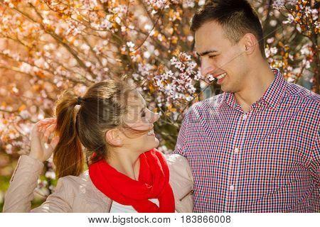 Happy Couple Having Romantic Date In Park