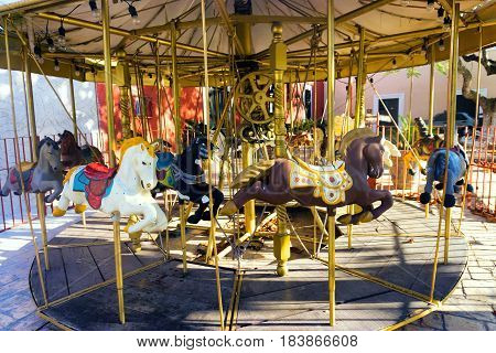 View of horse on a carousel in Valladolid Mexico