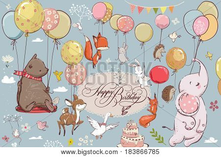 set with cute animals flying with balloons