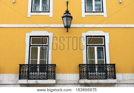 A colorful squared windows in Lisbon, Portugal