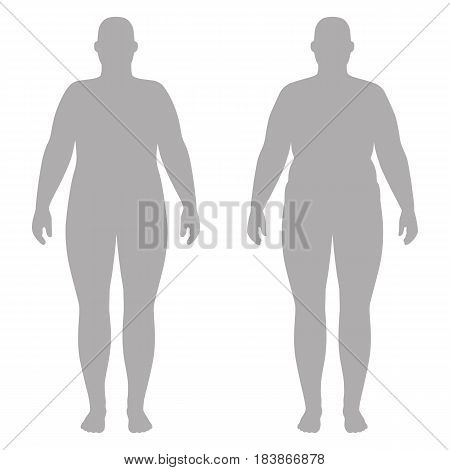 Full length front and back view of a fat standing naked woman outlined silhouette isolated on white background. Vector illustration. You can use this image for fashion design and etc.
