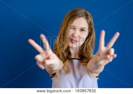 Girl Sign Peace