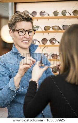 An image of a friendly service at the optometry glasses shop