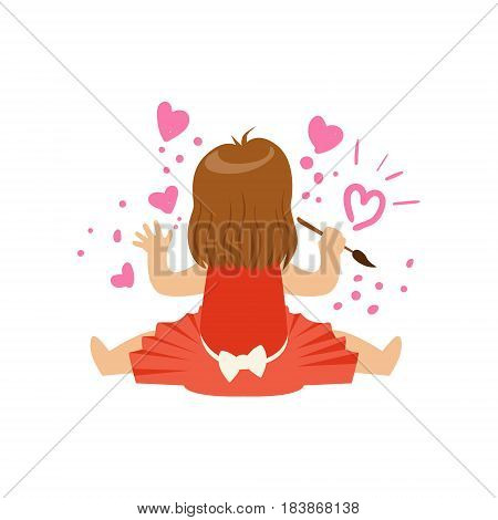 Cute little girl sitting and painting hearts on a white wall. A small artist, education and child development. Colorful character vector Illustration isolated on a white background