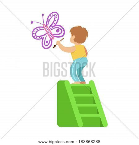 Cute little boy standing on a ladder and painting purple butterfly on a white wall. A small artist, education and child development. Colorful character vector Illustration isolated on a white background