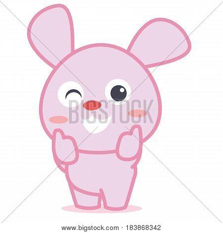 Rabbit smilling character cartoon vector art illustration