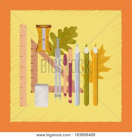 flat shading style icon school pencils pens ruler