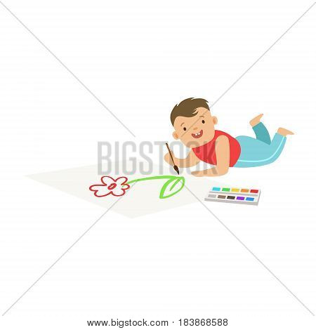 Happy little boy lying on the floor and drawing on big paper. A small artist, education and child development. Colorful character vector Illustration isolated on a white background