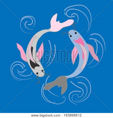Two symbols koi fish water and fire colorful vector illustration