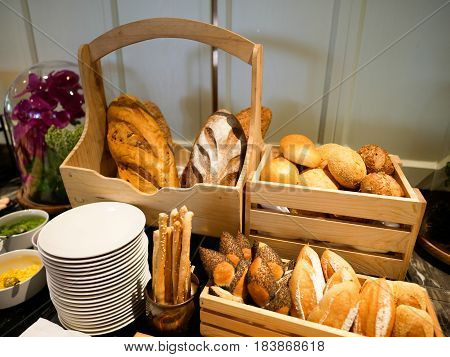 Breads for selection in a buffet restaurant.
