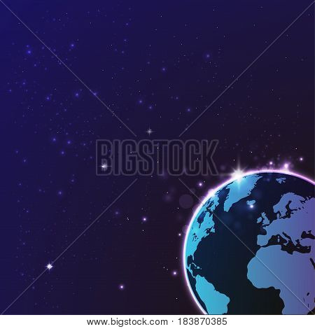 Global network connection. Planet on the night background.