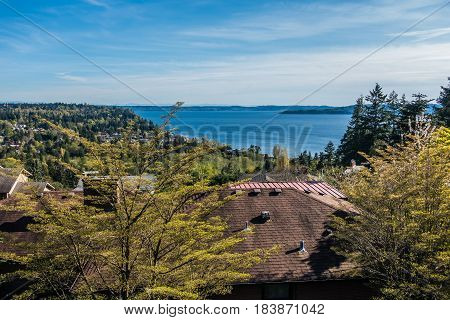 A view of the Puget Soud from a neighborhood of Burien Washington. It is Spring.