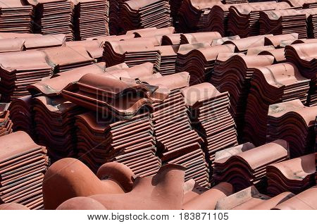 Background of broken roof tiles in junkyard