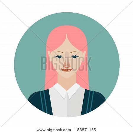 Female avatar icon in flat style. Female user icon. Cartoon woman avatar with pink hair. Vector stock.