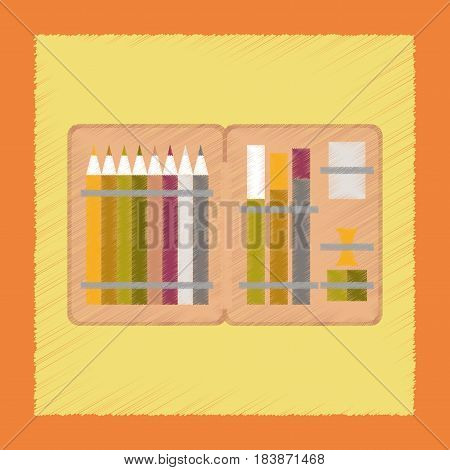 flat shading style icon education pencil box pencil pen